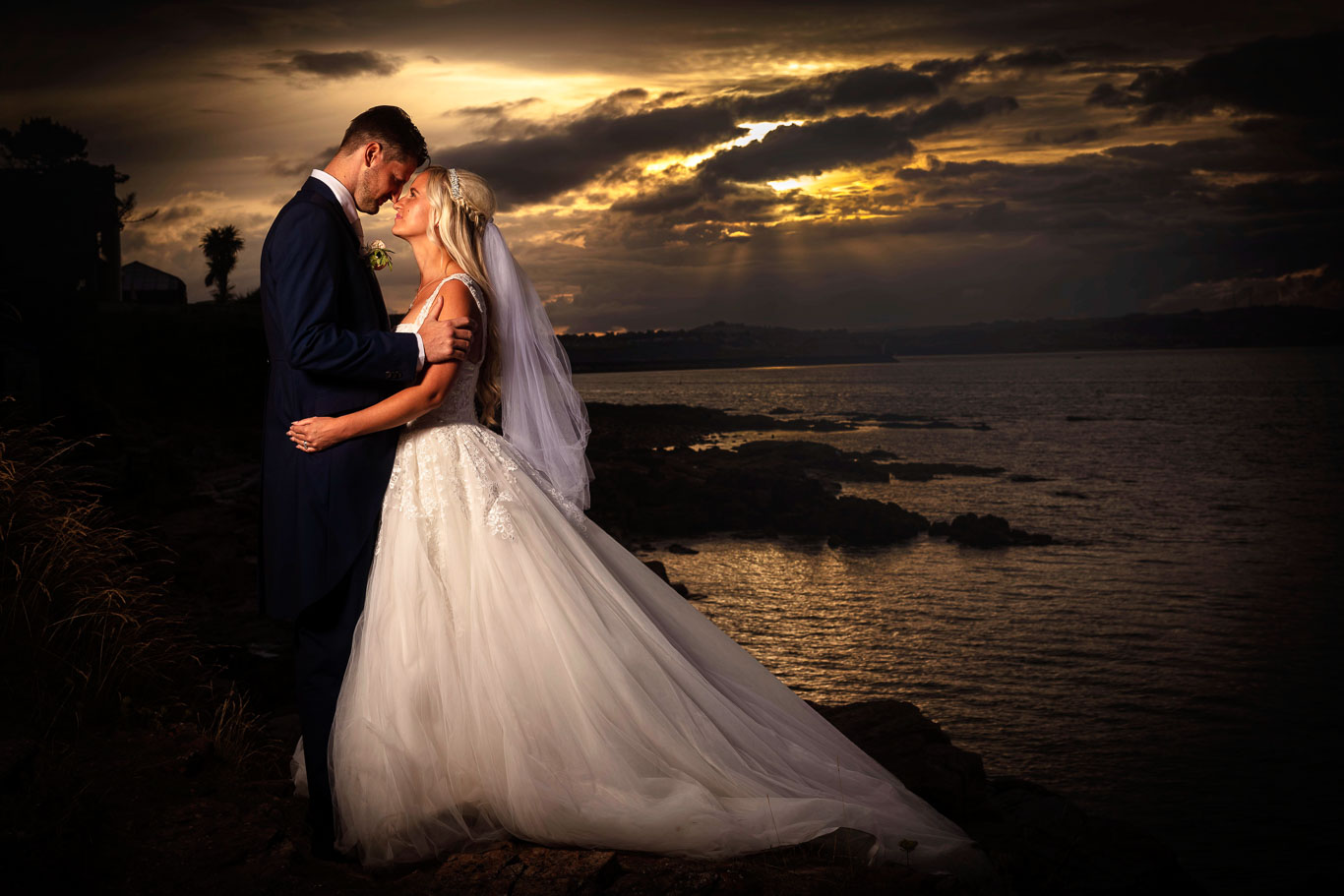 Newly Married Couple Pose at Sunset