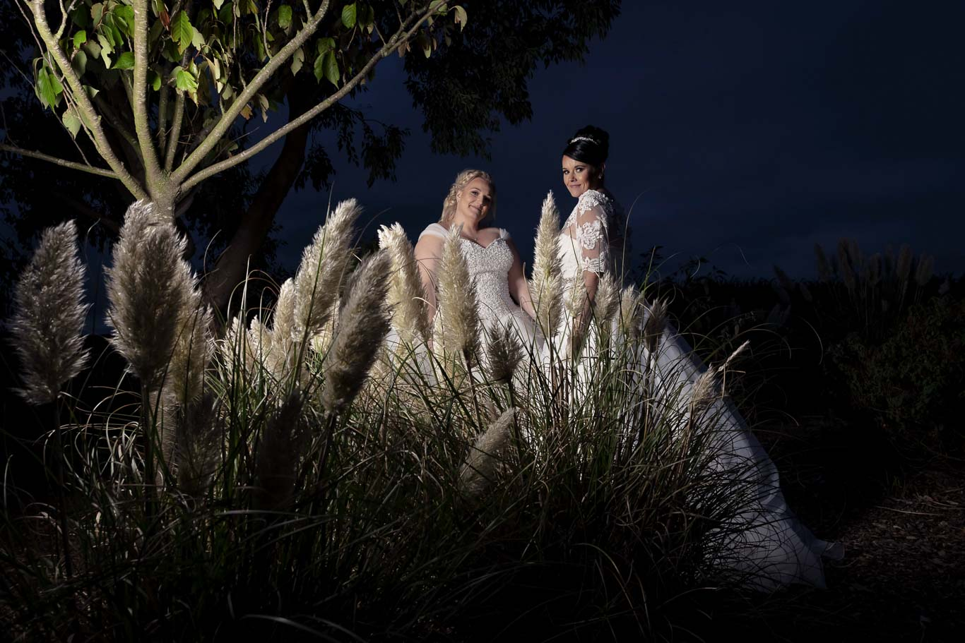 Two Brides Together at Night