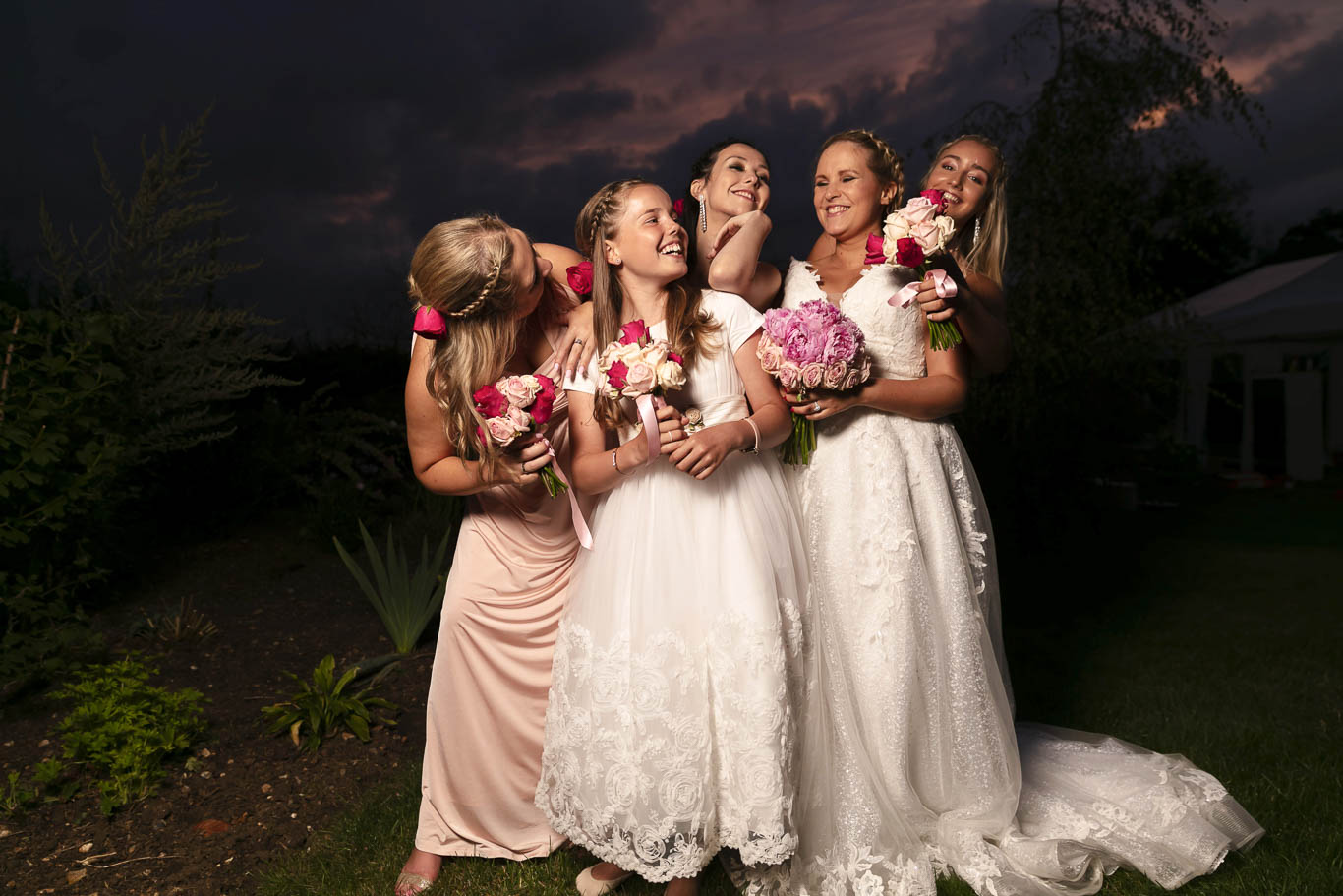 Bride and Bridesmaids at Dusk